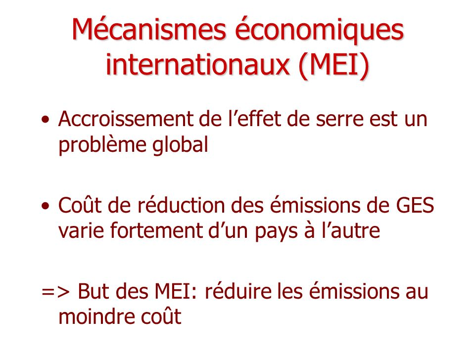 Mécanismes économiques internationaux (MEI)