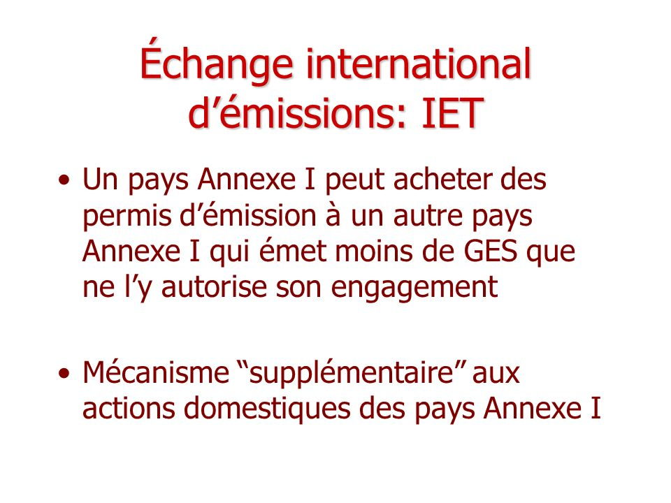 Échange international d'émissions: IET