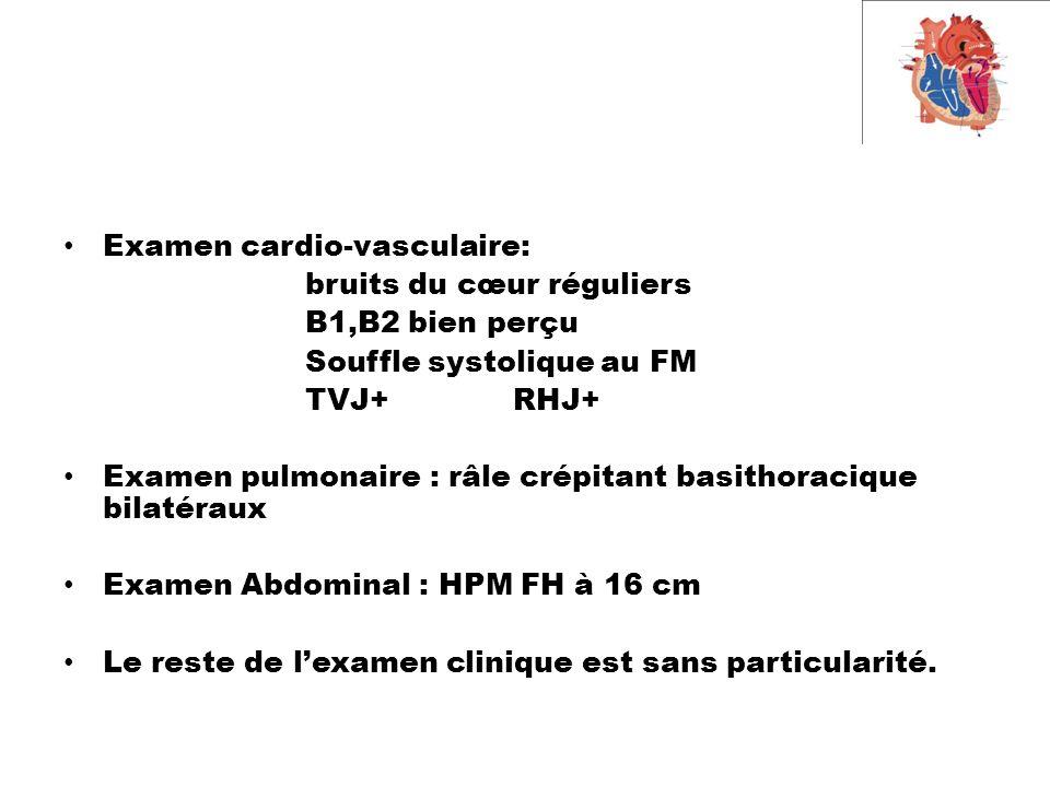 Examen cardio-vasculaire: