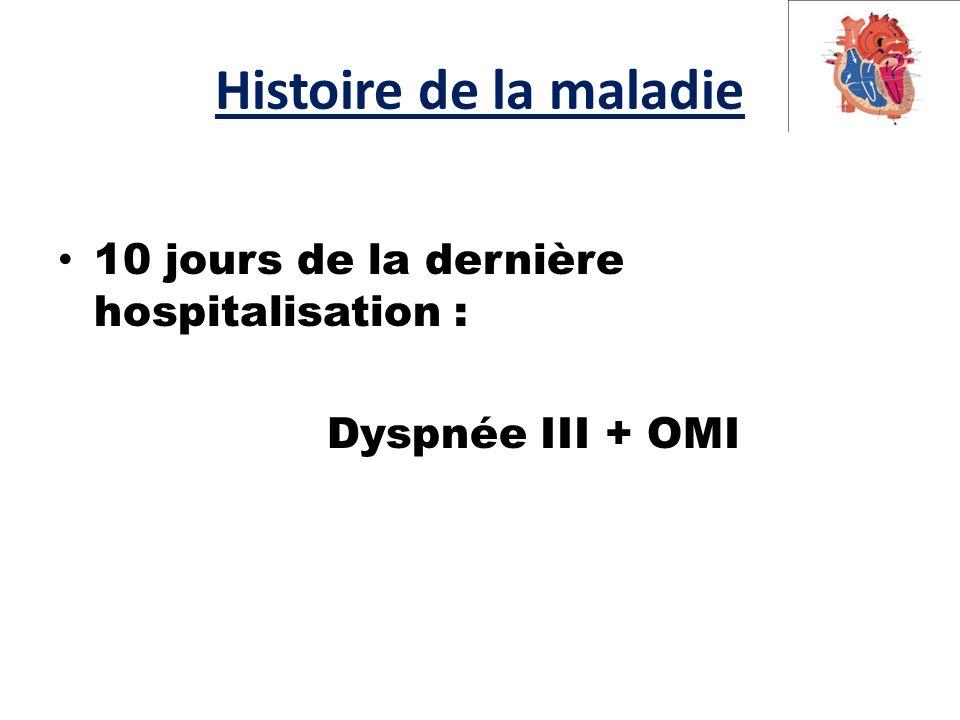 Histoire de la maladie 10 jours de la dernière hospitalisation :