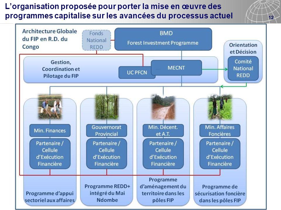 L'organisation proposée pour porter la mise en œuvre des programmes capitalise sur les avancées du processus actuel