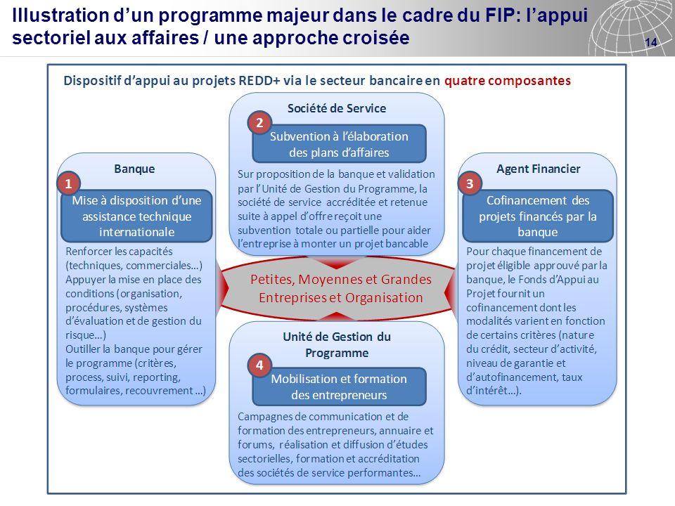 Illustration d'un programme majeur dans le cadre du FIP: l'appui sectoriel aux affaires / une approche croisée