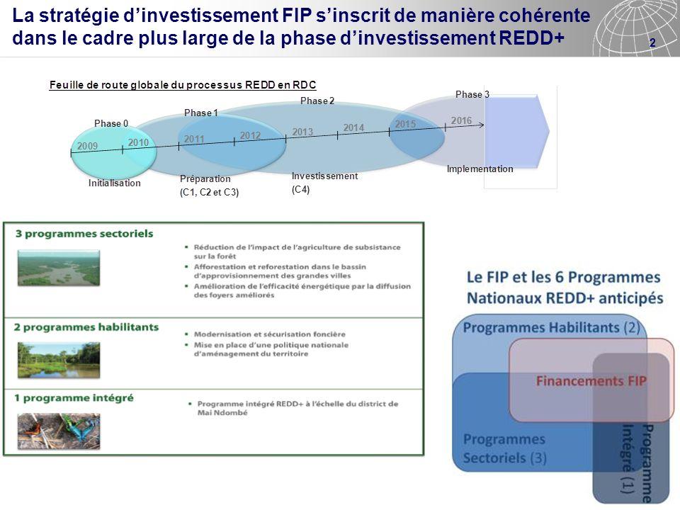 La stratégie d'investissement FIP s'inscrit de manière cohérente dans le cadre plus large de la phase d'investissement REDD+
