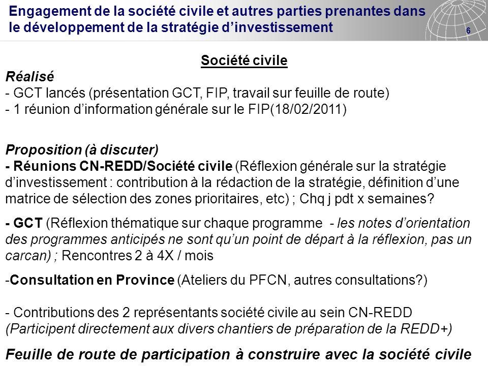 Feuille de route de participation à construire avec la société civile