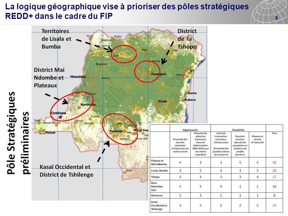 La logique géographique vise à prioriser des pôles stratégiques REDD+ dans le cadre du FIP