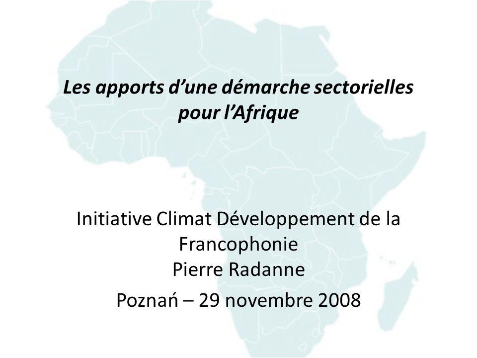 Les apports d'une démarche sectorielles pour l'Afrique