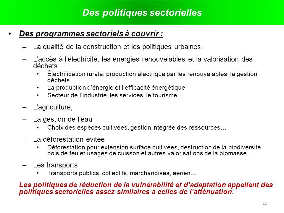 Des politiques sectorielles