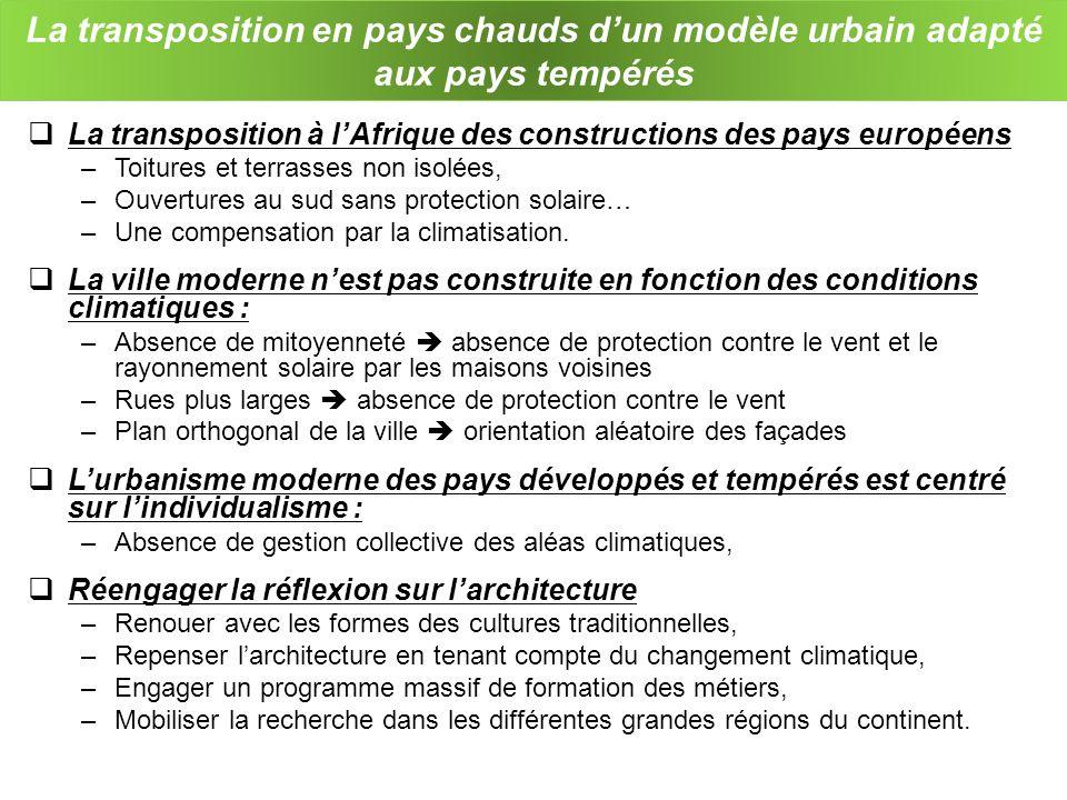 La transposition en pays chauds d'un modèle urbain adapté aux pays tempérés
