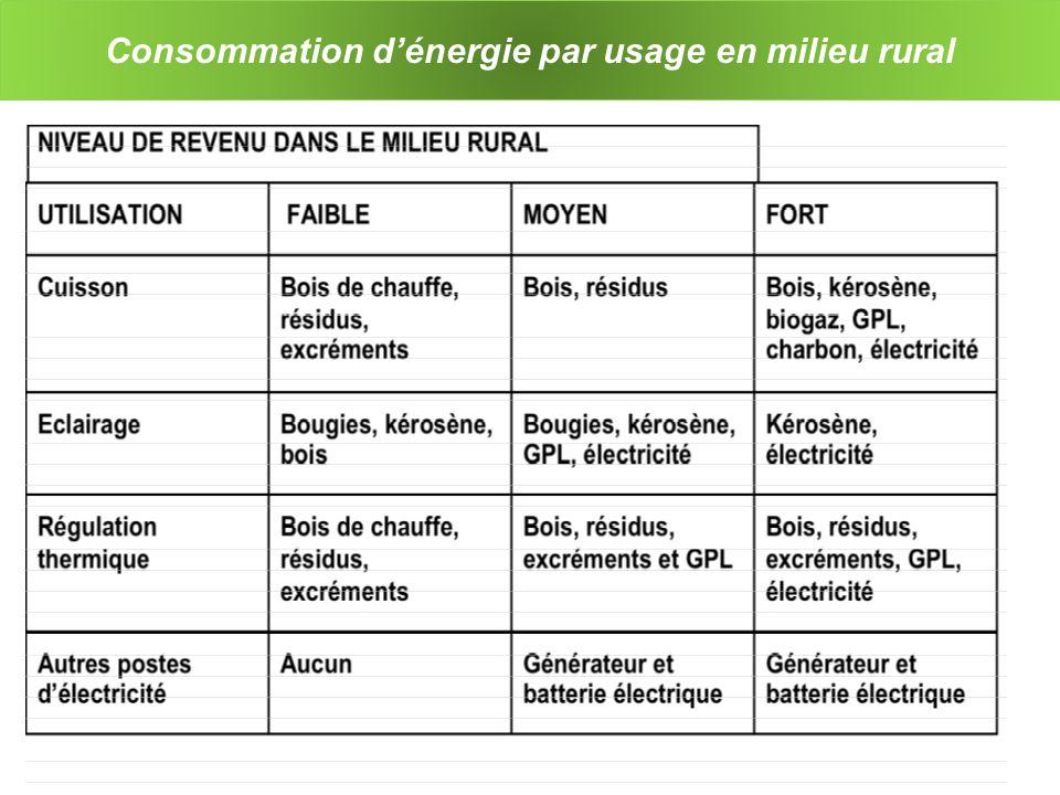 Consommation d'énergie par usage en milieu rural