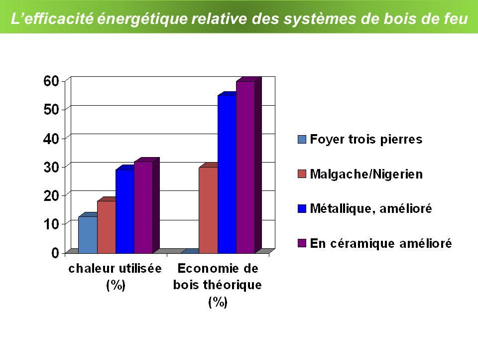 L'efficacité énergétique relative des systèmes de bois de feu