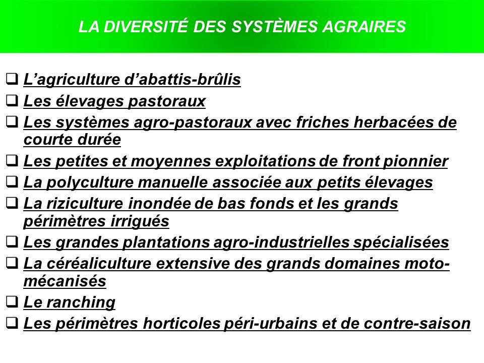 LA DIVERSITÉ DES SYSTÈMES AGRAIRES