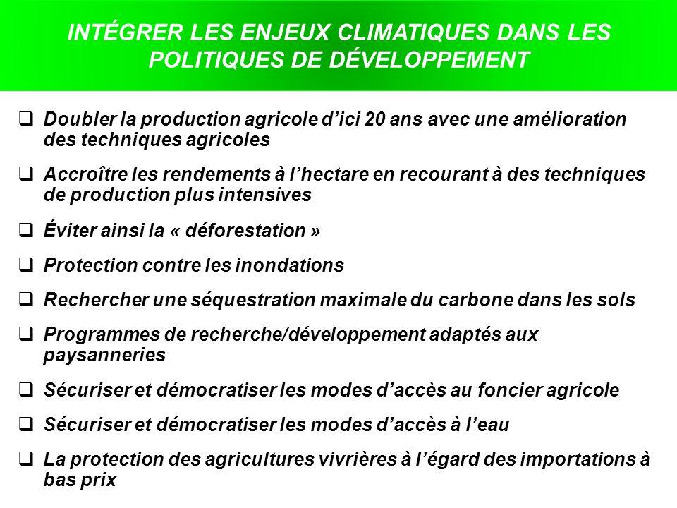 INTÉGRER LES ENJEUX CLIMATIQUES DANS LES POLITIQUES DE DÉVELOPPEMENT