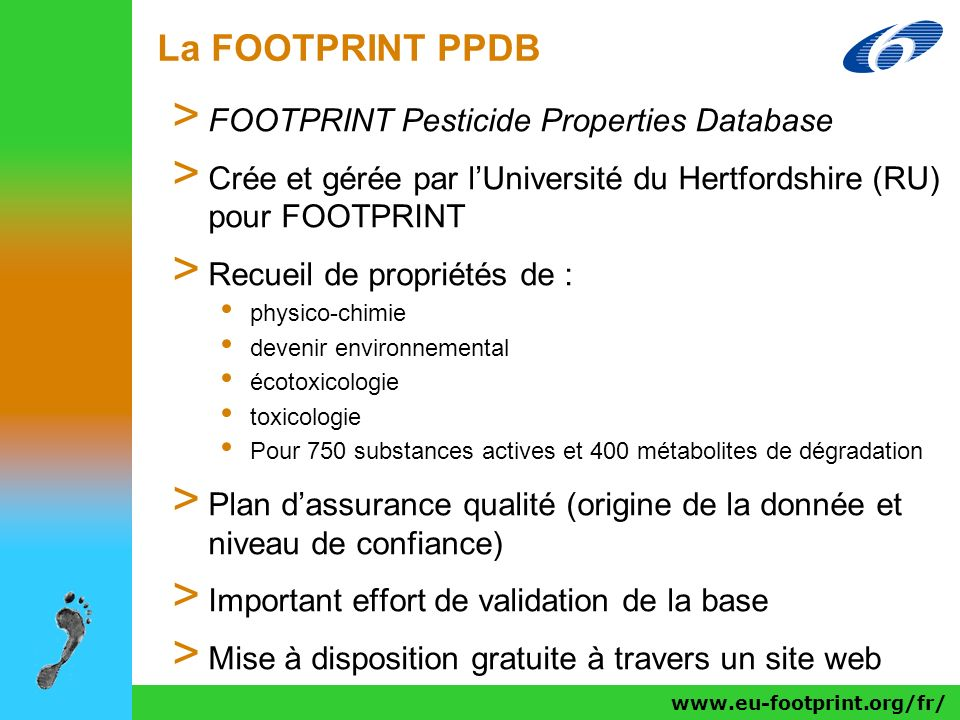 La FOOTPRINT PPDB FOOTPRINT Pesticide Properties Database