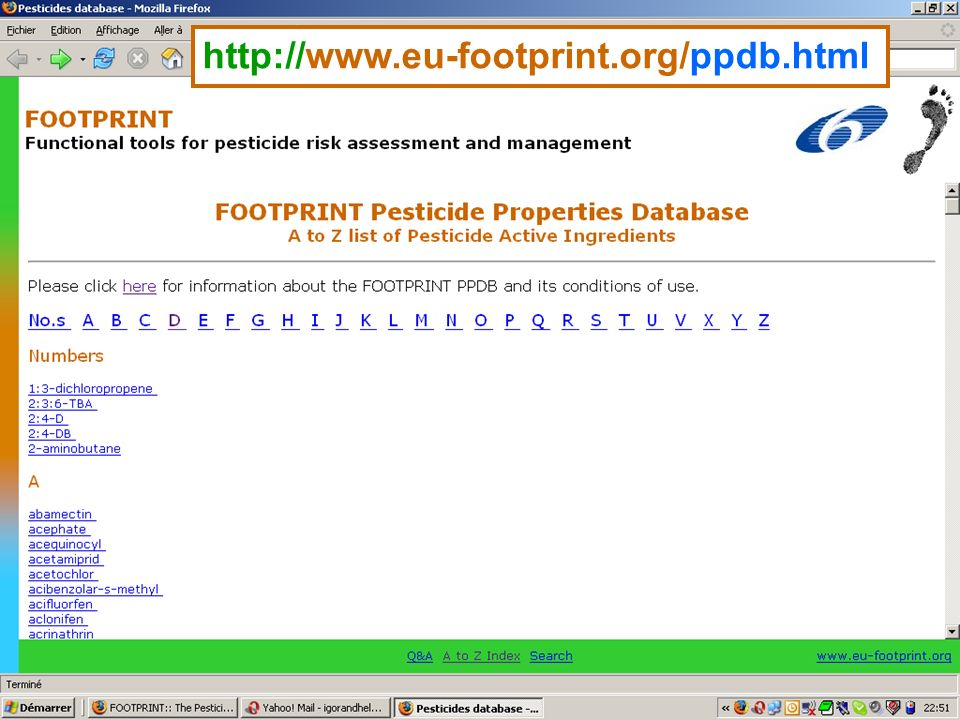 The FOOTPRINT PPDB http://www.eu-footprint.org/ppdb.html Screenshots