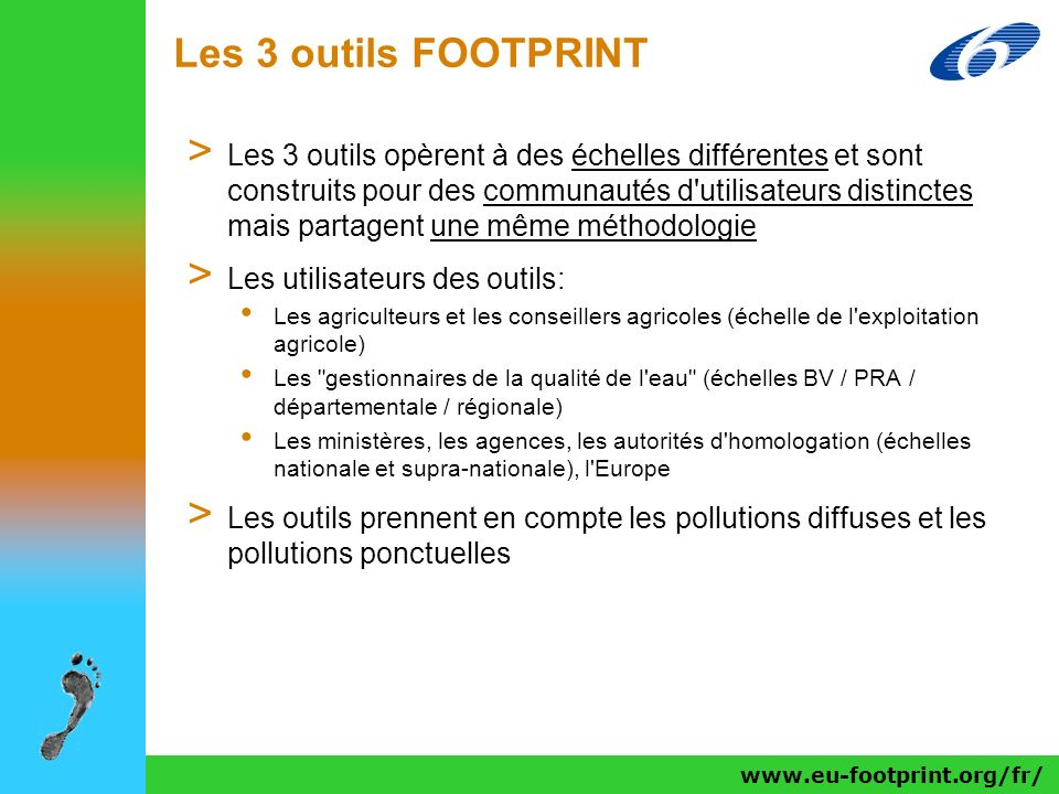 Les 3 outils FOOTPRINT