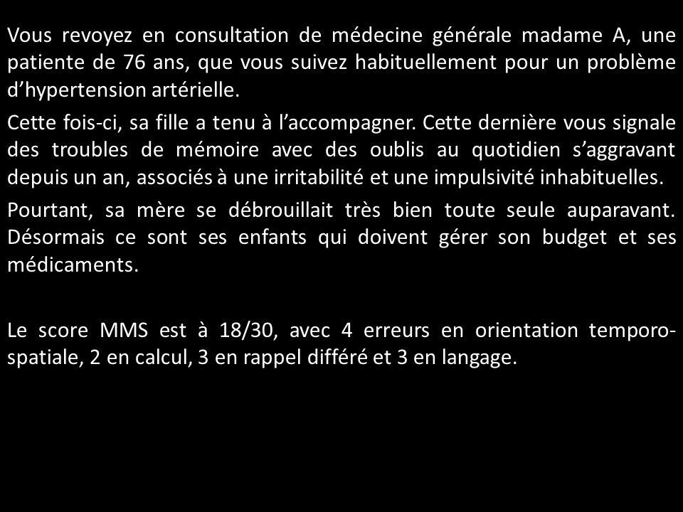 Vous revoyez en consultation de médecine générale madame A, une patiente de 76 ans, que vous suivez habituellement pour un problème d'hypertension artérielle.