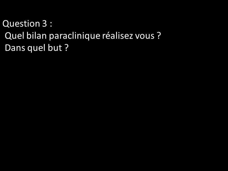 Question 3 : Quel bilan paraclinique réalisez vous Dans quel but