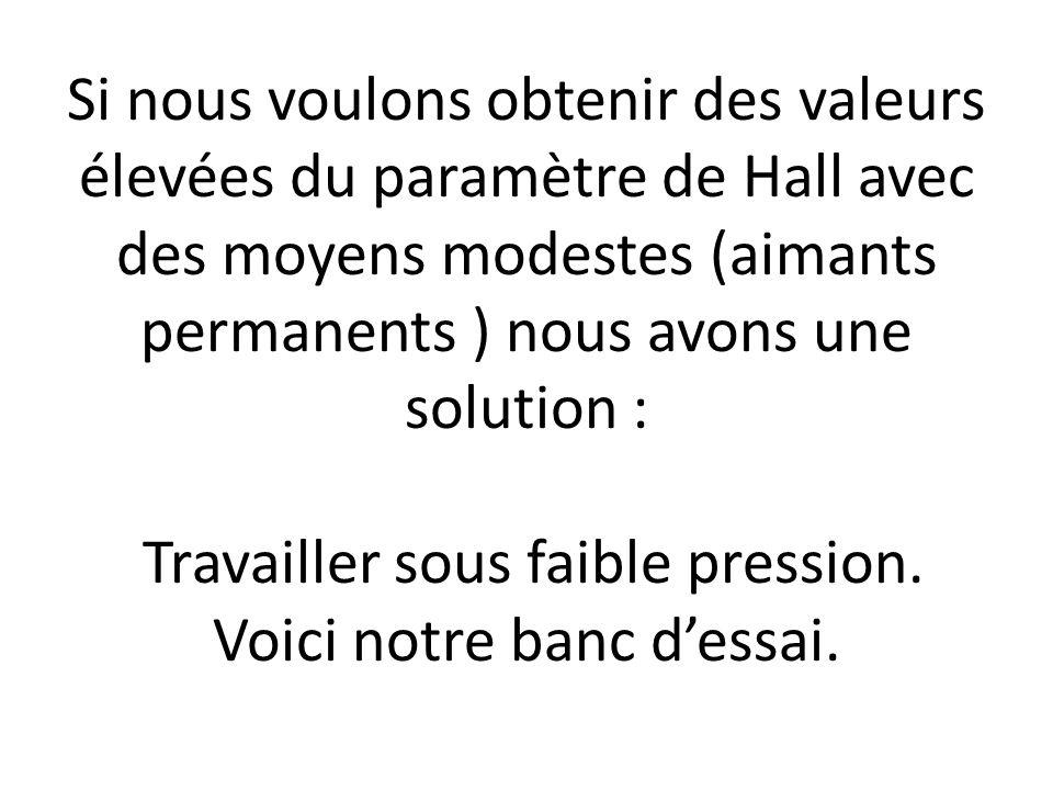 Si nous voulons obtenir des valeurs élevées du paramètre de Hall avec des moyens modestes (aimants permanents ) nous avons une solution : Travailler sous faible pression.