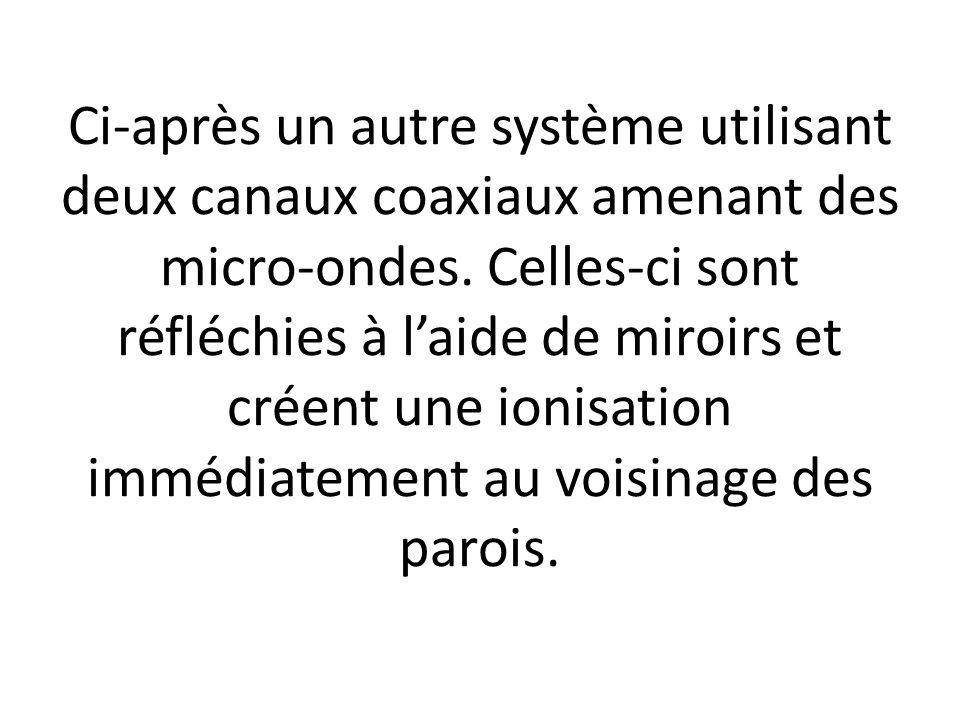 Ci-après un autre système utilisant deux canaux coaxiaux amenant des micro-ondes.