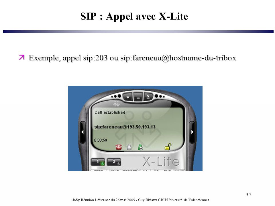 SIP : Appel avec X-Lite Exemple, appel sip:203 ou sip:fareneau@hostname-du-tribox.