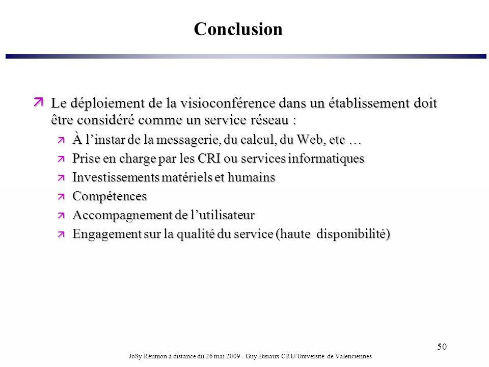 Conclusion Le déploiement de la visioconférence dans un établissement doit être considéré comme un service réseau :