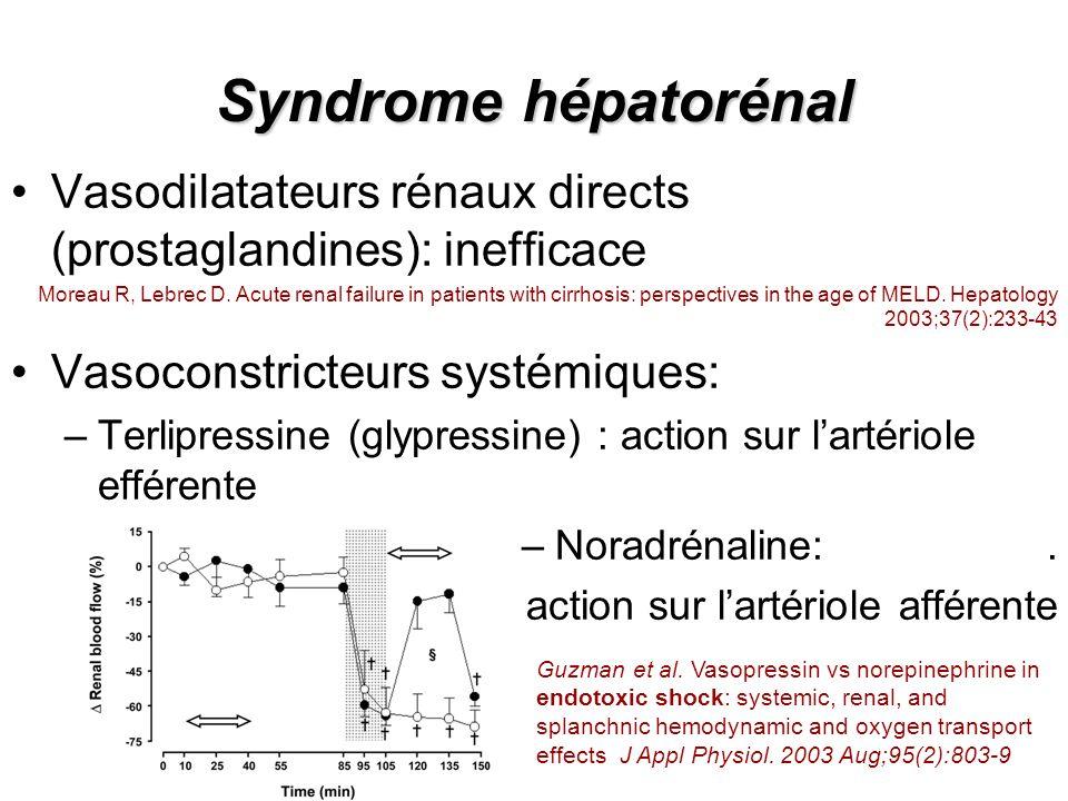 Syndrome hépatorénal Vasodilatateurs rénaux directs (prostaglandines): inefficace.