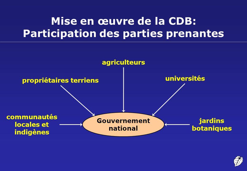 Mise en œuvre de la CDB: Participation des parties prenantes