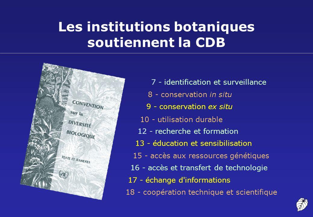 Les institutions botaniques soutiennent la CDB