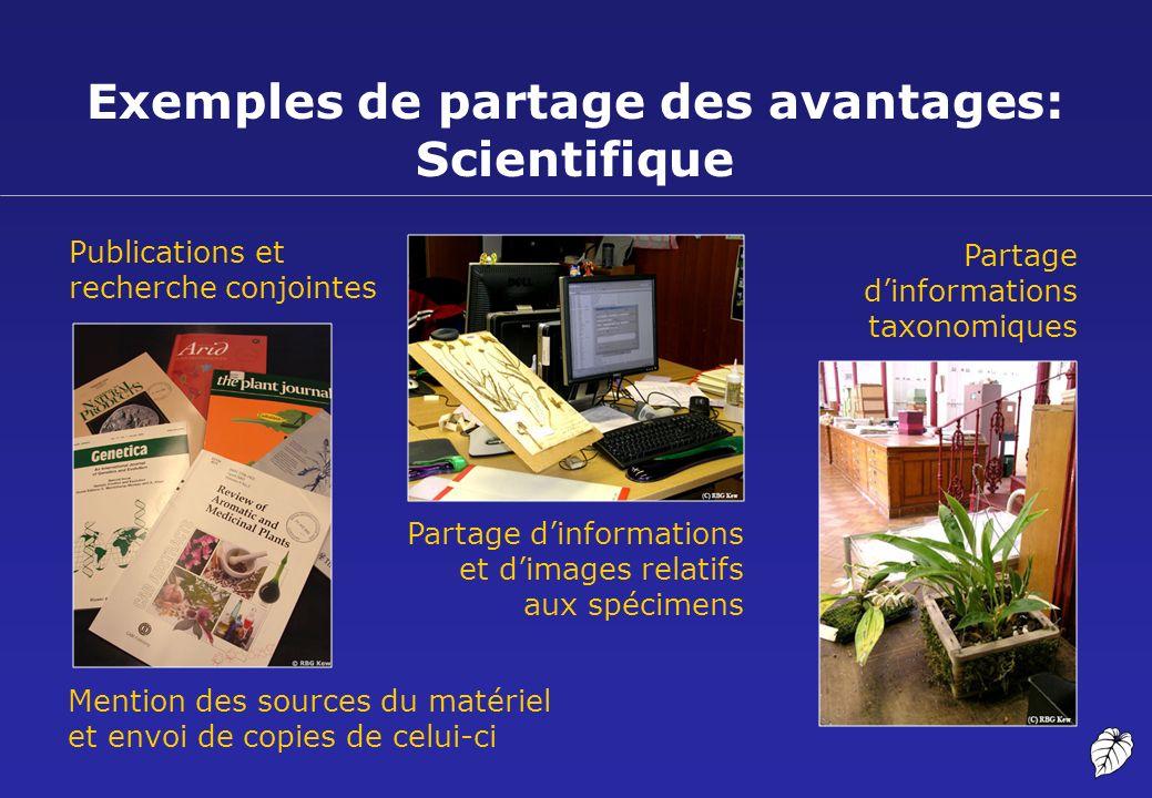 Exemples de partage des avantages: Scientifique