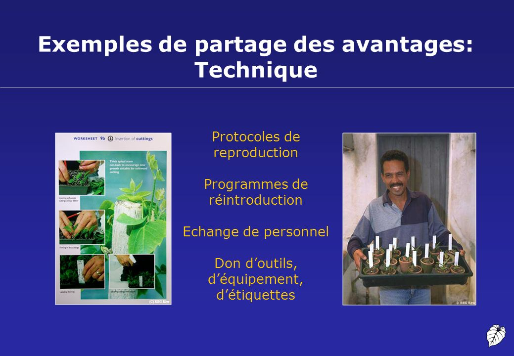 Exemples de partage des avantages: Technique