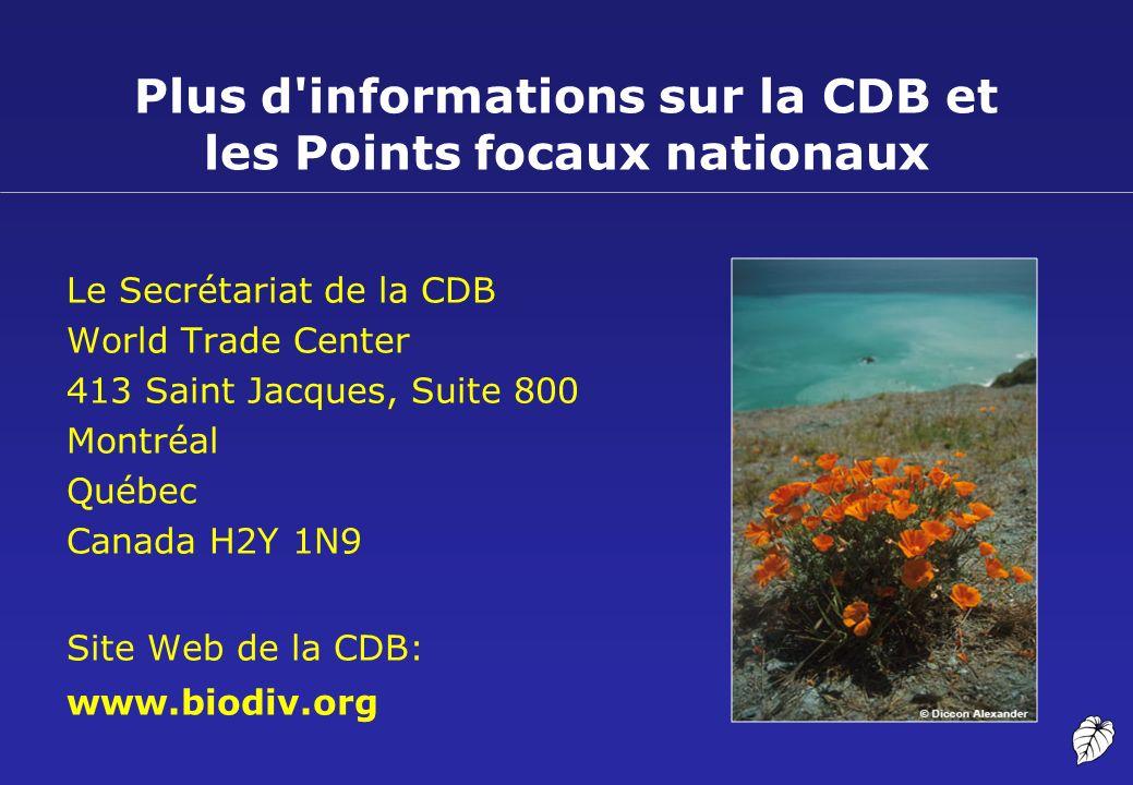 Plus d informations sur la CDB et les Points focaux nationaux