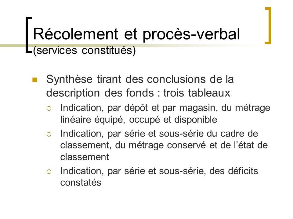 Récolement et procès-verbal (services constitués)