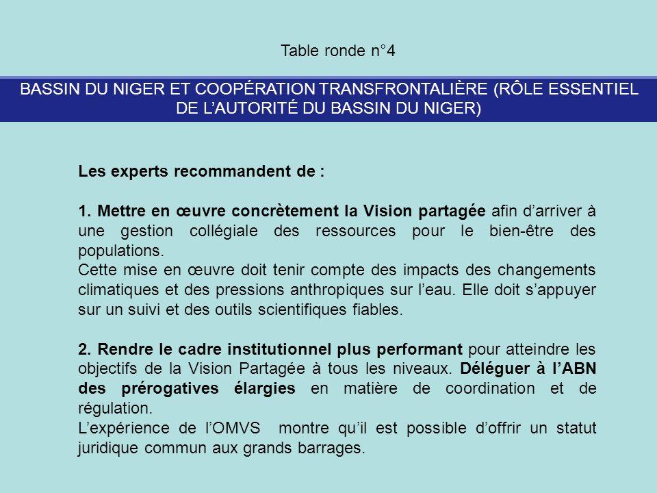Table ronde n°4 BASSIN DU NIGER ET COOPÉRATION TRANSFRONTALIÈRE (RÔLE ESSENTIEL DE L'AUTORITÉ DU BASSIN DU NIGER)