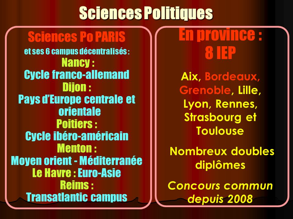 Sciences Politiques En province : 8 IEP Sciences Po PARIS Nancy :