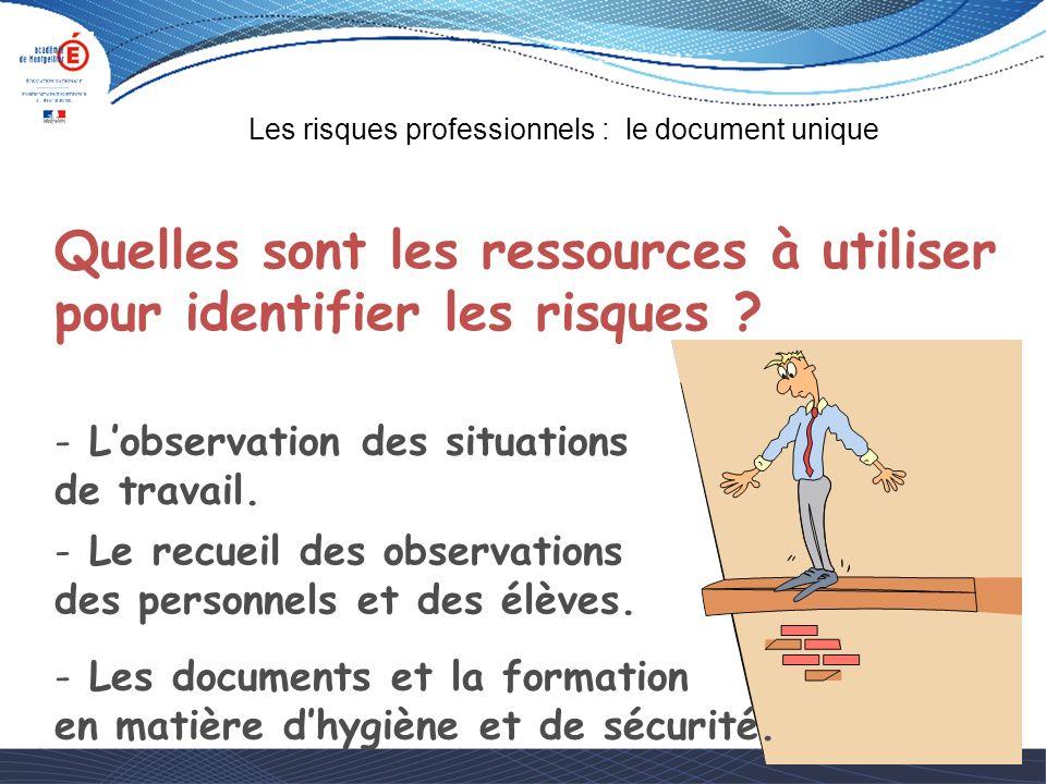 Quelles sont les ressources à utiliser pour identifier les risques