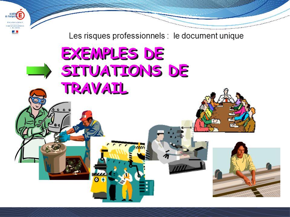EXEMPLES DE SITUATIONS DE TRAVAIL