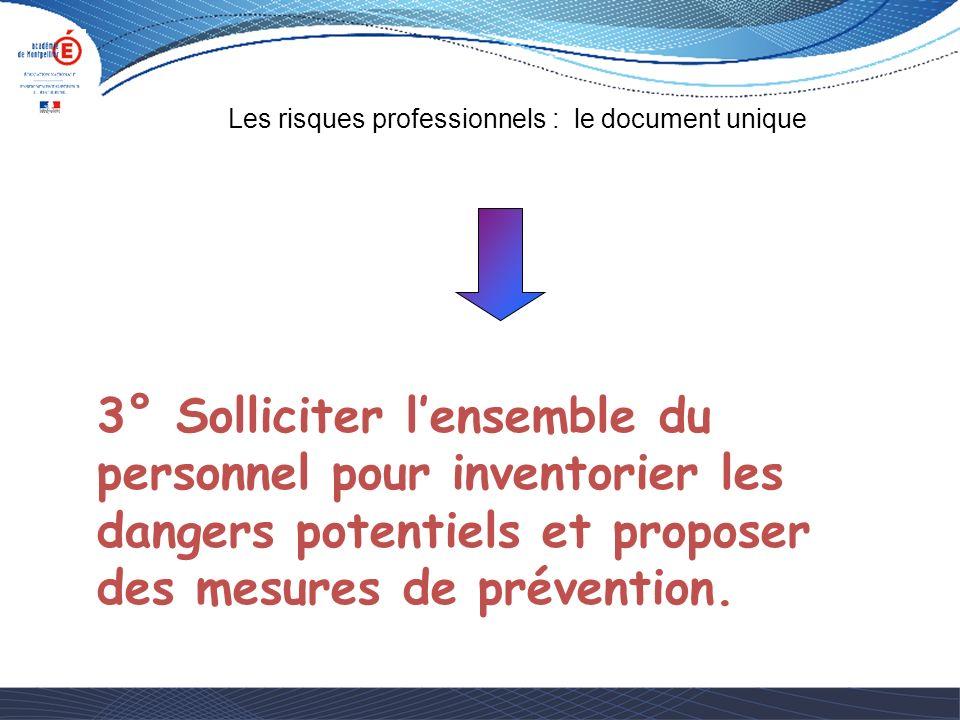 3° Solliciter l'ensemble du personnel pour inventorier les dangers potentiels et proposer des mesures de prévention.