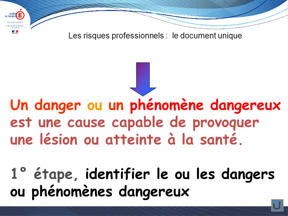 Un danger ou un phénomène dangereux est une cause capable de provoquer une lésion ou atteinte à la santé.