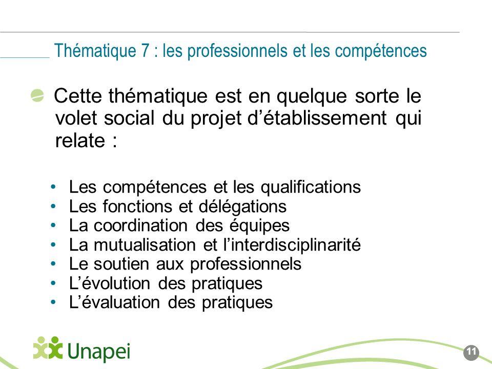 Thématique 7 : les professionnels et les compétences