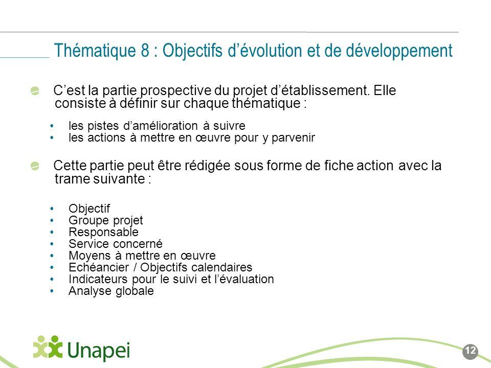 Thématique 8 : Objectifs d'évolution et de développement