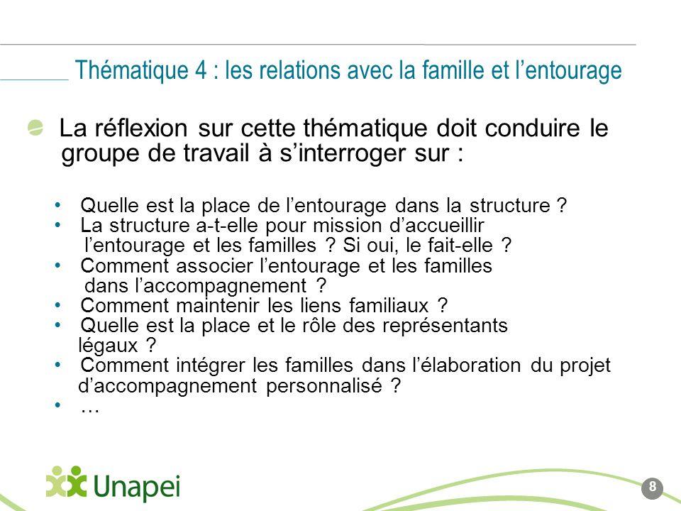 Thématique 4 : les relations avec la famille et l'entourage