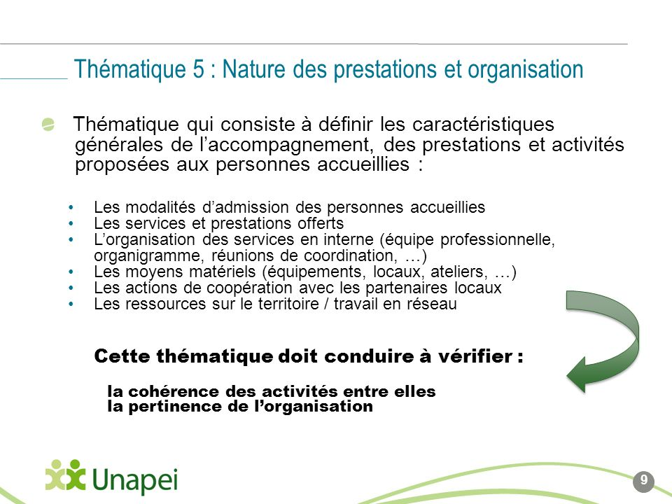 Thématique 5 : Nature des prestations et organisation