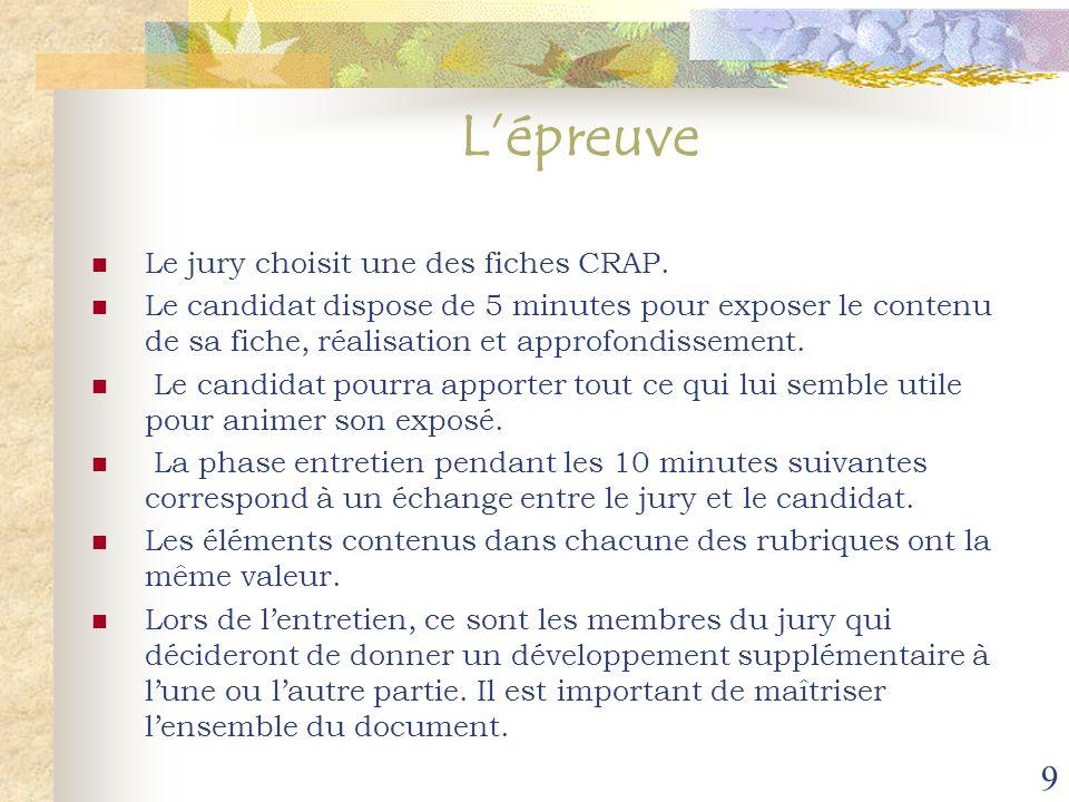 L'épreuve Le jury choisit une des fiches CRAP.