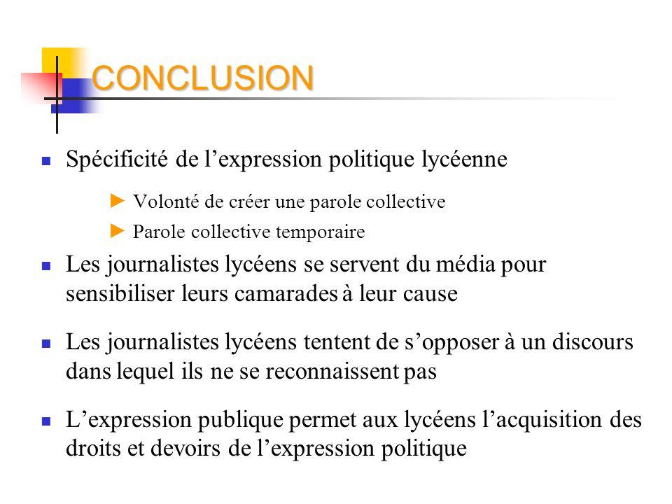 CONCLUSION Spécificité de l'expression politique lycéenne