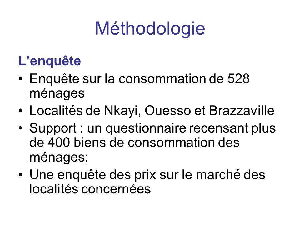 Méthodologie L'enquête Enquête sur la consommation de 528 ménages