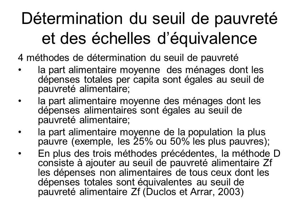 Détermination du seuil de pauvreté et des échelles d'équivalence
