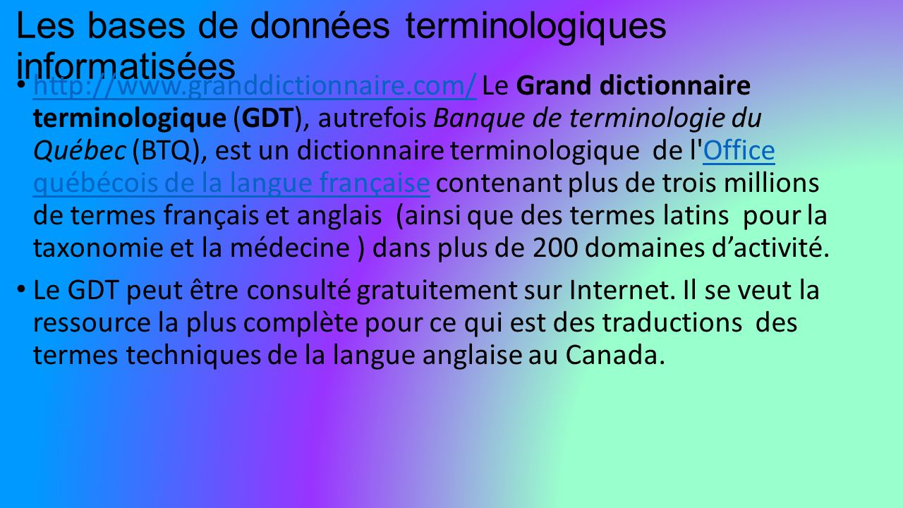 Introduction la lexicologie conf rence ppt t l charger - Dictionnaire de l office de la langue francaise ...