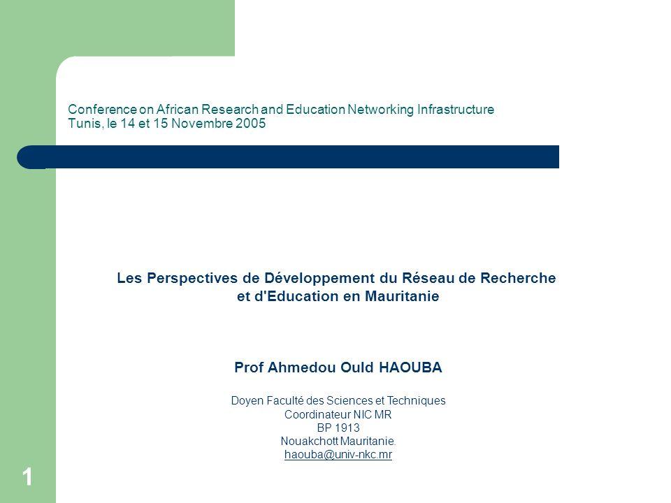 Les Perspectives de Développement du Réseau de Recherche