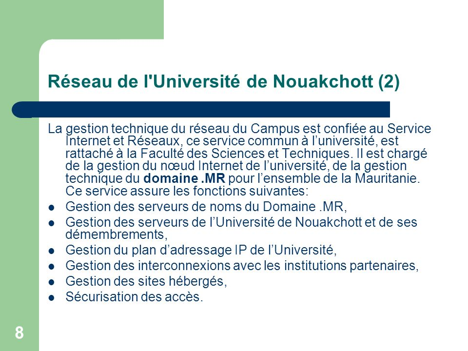 Réseau de l Université de Nouakchott (2)
