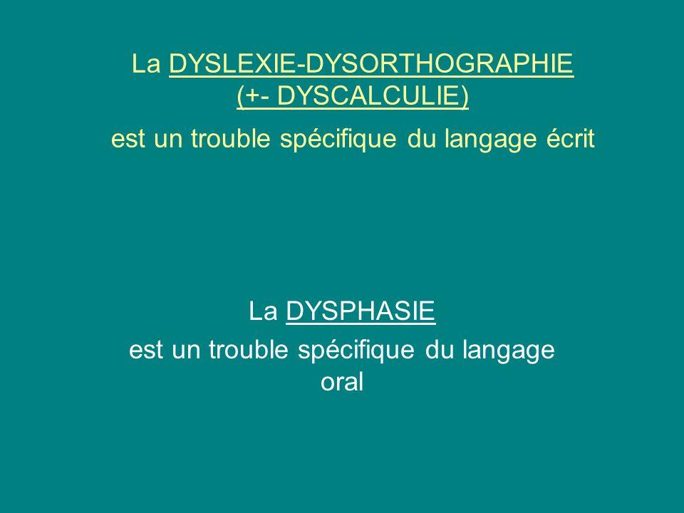 La DYSPHASIE est un trouble spécifique du langage oral